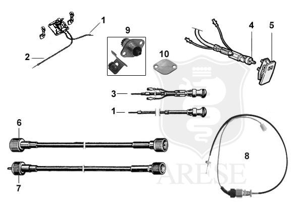 manual throttle cable - spider 70-86 with console choke cable - all models